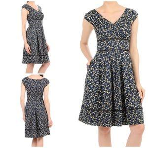 eShakti Vintage Key Print Lattice Trim Dress 1X 18